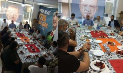 AKP'liler toplantıda Türk bayrağını sofra bezi yaptı