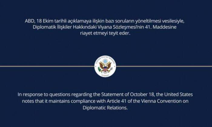 ABD Ankara Büyükelçiliği'nden açıklama
